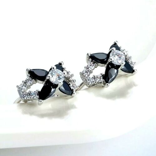 White Gold Plated Hoop Earrings With Flower Black And White Cubic Zirconia