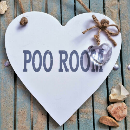 Toilet Bathroom Loo Crystal POO ROOM SHABBY WHITE CHIC WOODEN Heart Sign