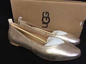 34f330acfafd Image is loading Ugg-Australia-Lynley-Metallic-Gold-Flats-1015057-Women-
