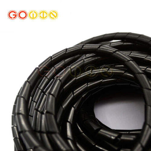 10M Length 8mm Dia Flexible Cable Wire Wrap Spiral Tube Cord Management Black