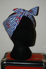 nautical anchors retro head scarf rockabilly 50s pin up hair wrap nautical 40s
