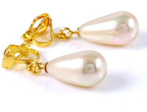 """20 mm Larme Faux Perle Soirée Mariage NEUF #E122P clip sur boucles d/'oreilles Dangle 0.8/"""""""