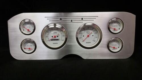 1955 1956 1957 1956 1959 GMC 6 Gauge Dash Cluster Set Billet Insert White