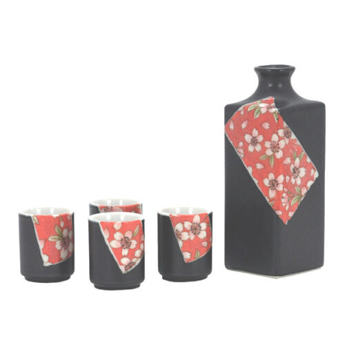 3 PCS. Japanese Ceramic Sake Bottle Cups Set Sakura Cherry Blossom Made in Japan