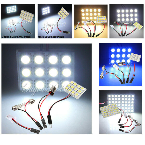 9/12/15/20/24/48 LED 5050 SMD Car Light Panel Dome With T10 Festoon BA9S Adapter