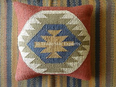 Vintage Kilim Pillow Covers 18x18 Jute Kelim Rug Cushions Decorative Pillow Sham