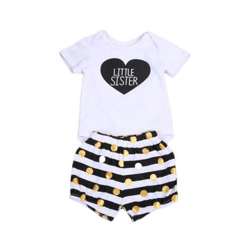 Cute Newborn Kid Baby Boys Girls Romper T-shirt Dress Matching Outfits Clothes