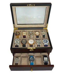 mens watch box 20 walnut wood mens collector jewelry 30706