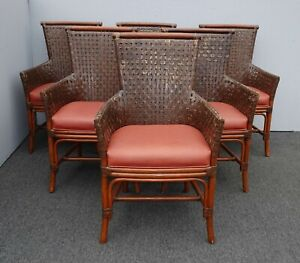 Groovy Details About Six Vintage Bamboo Orange Leather Palecek Accent Chairs W Woven Leather Backrest Pdpeps Interior Chair Design Pdpepsorg