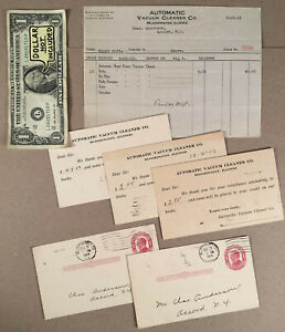 Bloomington-IL-1913-14-AUTOMATIC-VACUUM-CLEANER-Co-Billhead-and-Postcards-Lot
