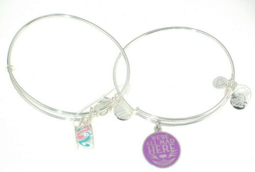 Disney Alex /& Ani Bracelet Set of 2 Alice Wonderland We/'re All Mad Here Cheshire