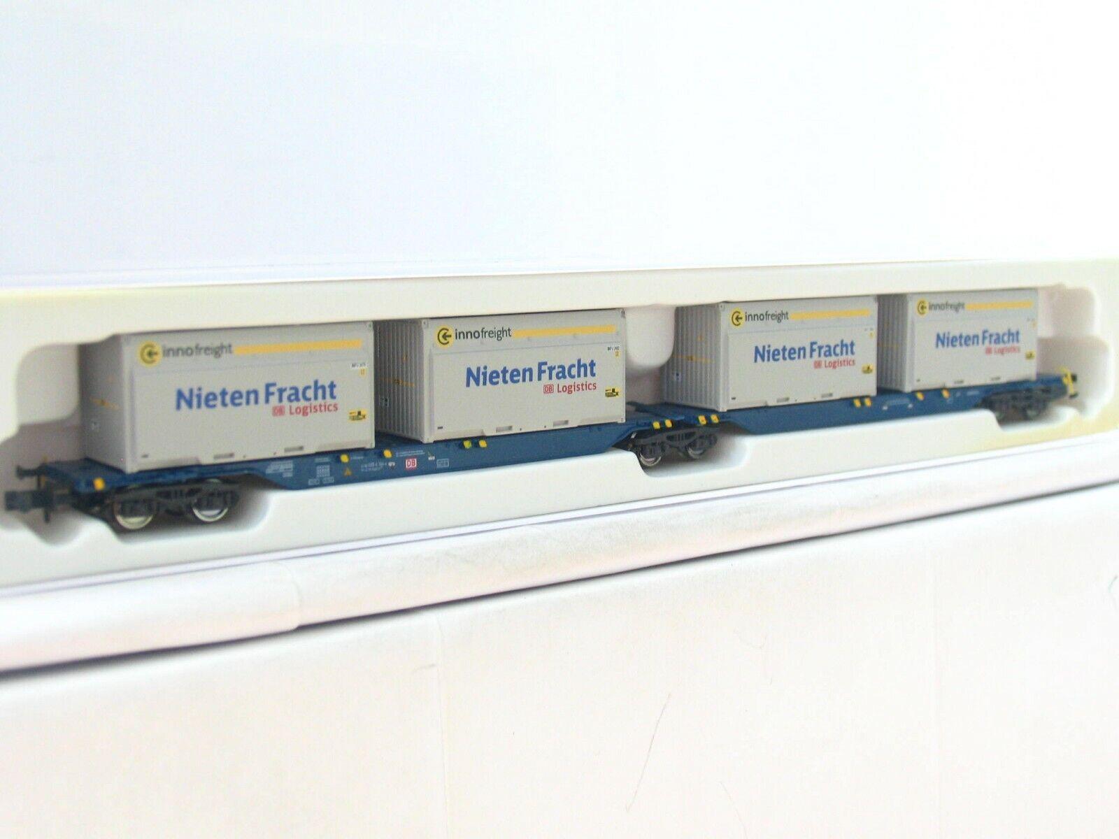 Hobbytrain N H23718-6 H23718-6 H23718-6 Containertragwagen Sggmrs Nietenfracht DB OVP (RB8008)  | Wirtschaft  2b8d92