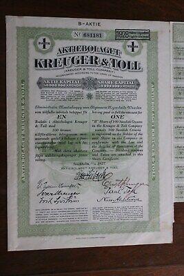 "Amable Titre Au Porteur "" Kreuger & Toll Stockholm 1927 "" Ni Demasiado Duro Ni Demasiado Suave"
