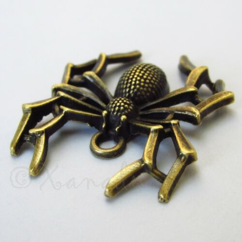 Halloween Spider 35mm Antiqued Silver Plate Charm Pendants C2269-2 5 Or 10PCs
