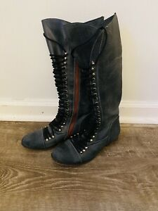 Viaje Pórtico código postal  Steve Madden Size 8.5 Perrin Blue Genuine Leather Tall Combat Lace Up Boots  | eBay