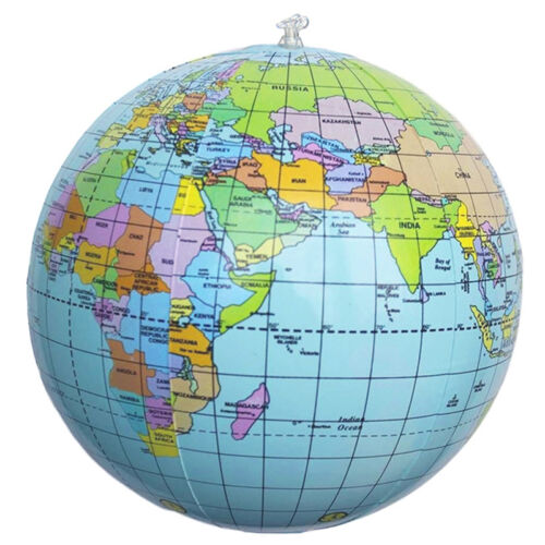 World Globe Earth Map Kid Teaching Geography Map Beach Ball Toy Inflatable Y1G8