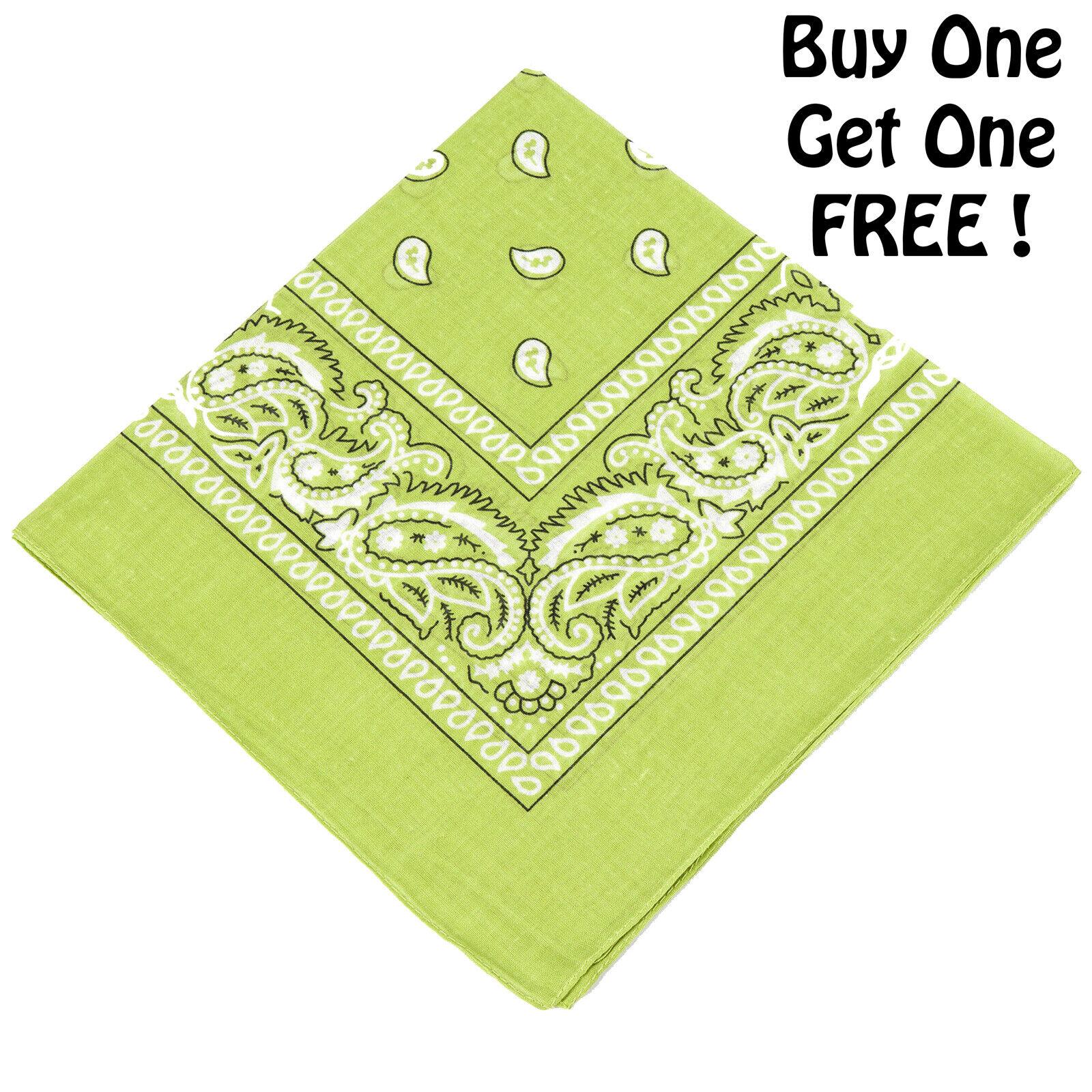 Unisex 100/% Cotton Paisley Bandana LIME GREEN Scarf BUY ONE GET ONE RANDOM FREE