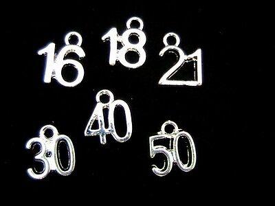 12 x Tibetan Silver Birthday Age Charms 16th 18th 21st 30th 40th 50th  N79