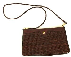 Details about Vintage AIGNER Burgundy Woven Braided Leather Crossbody Bag Braided Strap
