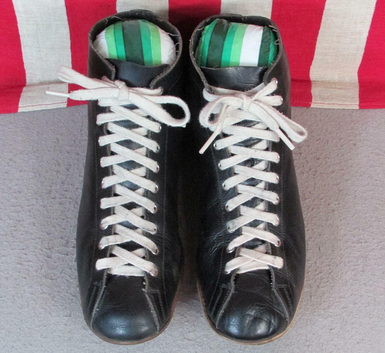 Vintage 1930s Black Leather High Top Athletic Sho… - image 4