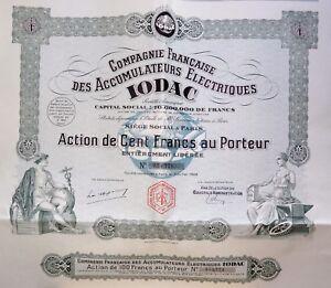 Compagnie Française Des Accumulateurs Électriques Iodac Action 100 Francs 1928 Dnfvu8lp-07221400-309315402