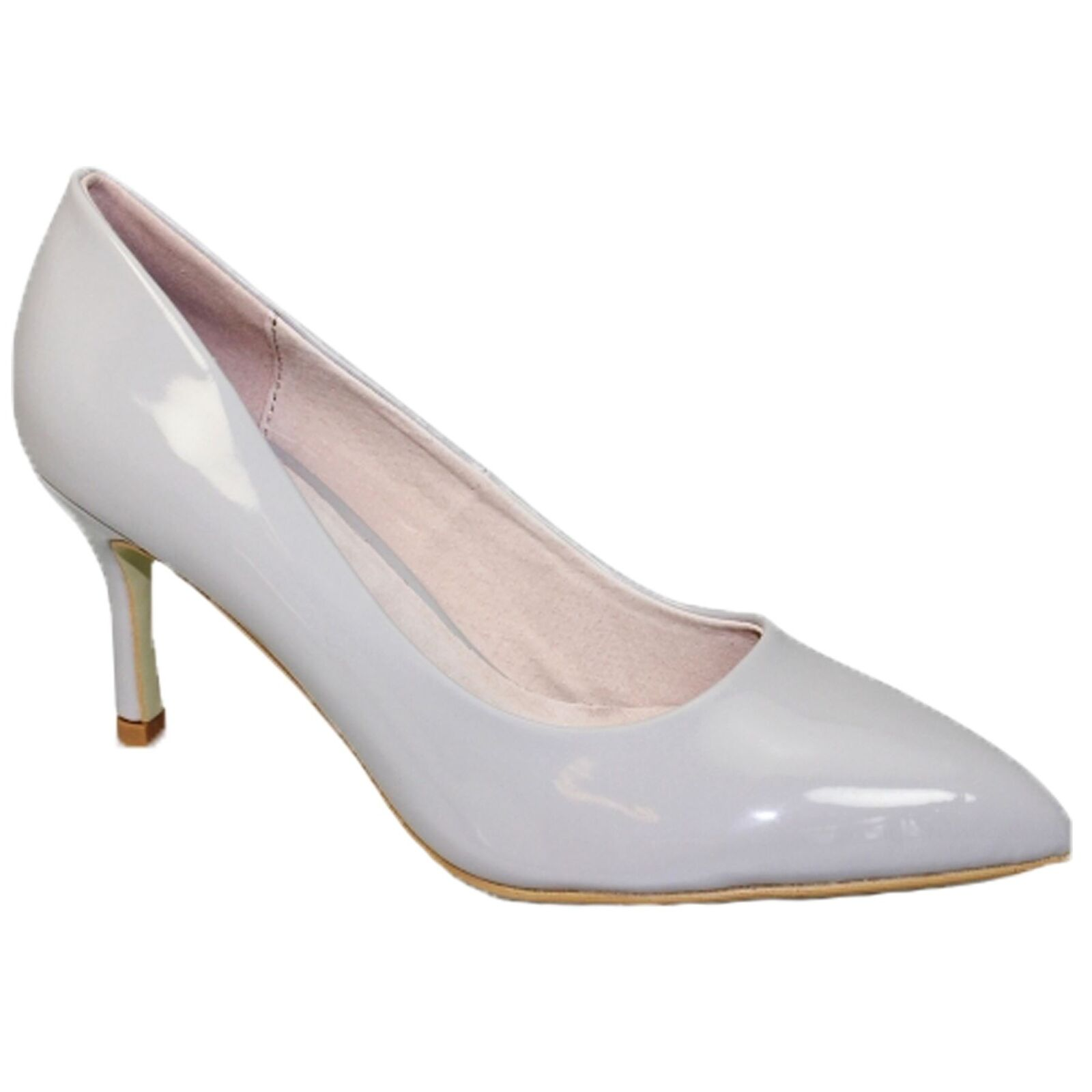 FLC090 Petal Padded Insole Pointed Toe Court schuhe Patent Mid Heeled Formal schuhe Court 3033b5