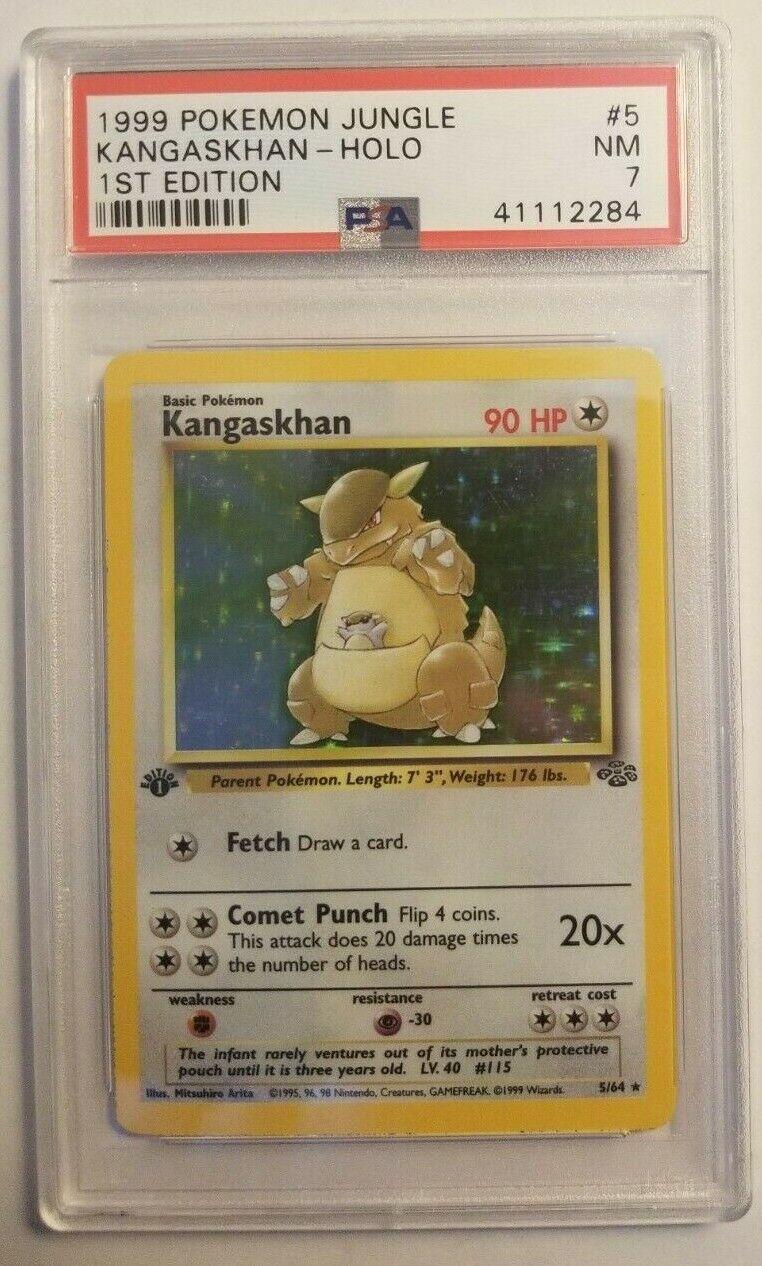 PSA 7 Near Mint - KANGASKHAN HOLO - Pokemon  1999 Jungle 1st Edition Set