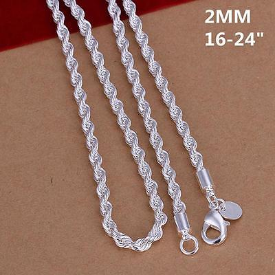 Wholesale 925 Sterling Silver Chain Necklace 16-30'' Women Men Fashion Jewelry