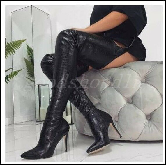 Ladeis Leather Pointy Toe Over Knee Thigh High Boots Stilettos Club Sexy shoes
