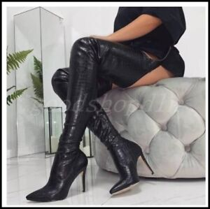 Ladeis-Leather-Pointy-Toe-Over-Knee-Thigh-High-Boots-Stilettos-Club-Sexy-Shoes