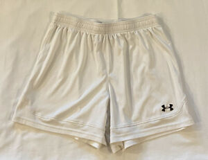 Under-Armour-Womens-White-Athletic-Soccer-Running-Shorts-Loose-Fit-Sz-SMALL