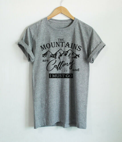 Mens T Shirts The Mountains Are Calling And I Must Go Shirt Hiking Camping Tees