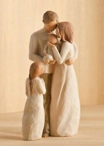 Willow-Tree-Mother-Father-with-Baby-amp-Daughter-Figurine-Gift-Set-Family-Group