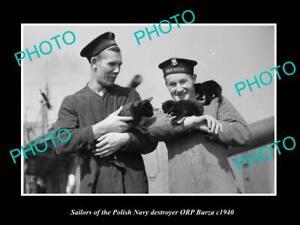 OLD-POSTCARD-SIZE-PHOTO-POLAND-MILITARY-POLISH-NAVY-SAILORS-ORP-BURZA-c1940