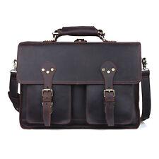 "Men's Genuine Leather Large Backpack Hiking 16"" Laptop Messenger Bag Heavy Duty"