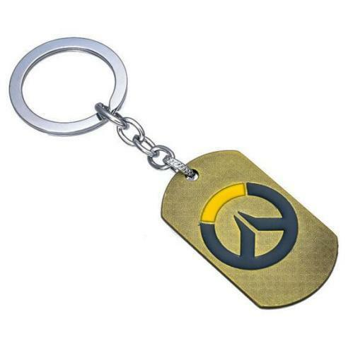 FPS GAME OW Metal Dog Tag texture 3D double side Keychain Keyring ~bronzeΔ