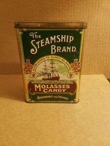 VINTAGE-The-Steamship-Brand-034-Molasses-Candy-034-Tin-by-Stewart-and-Young