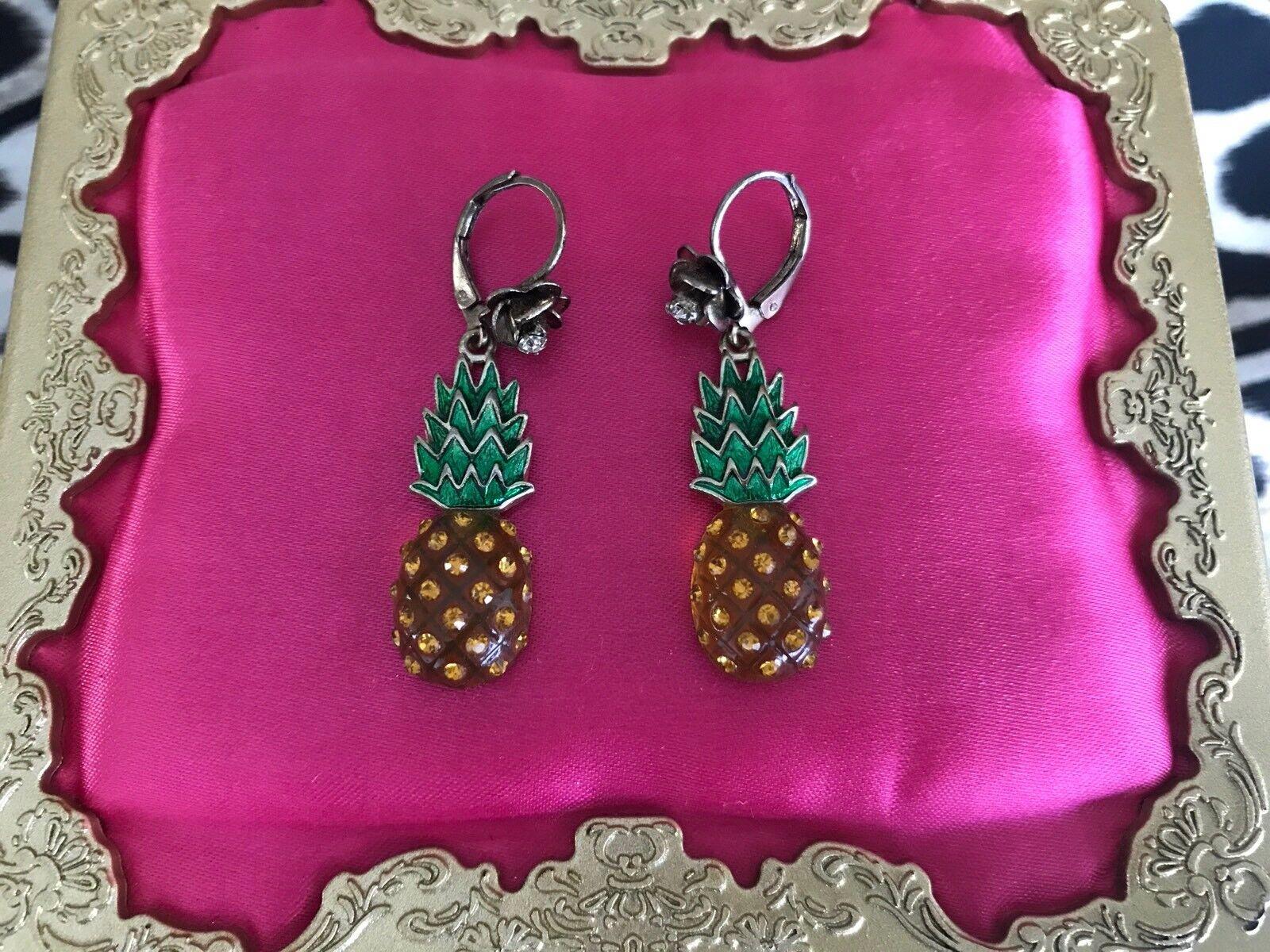 a28fb3044de Betsey Johnson Vintage Rio Lucite Pineapple Crystal pink Fruit Earrings RARE