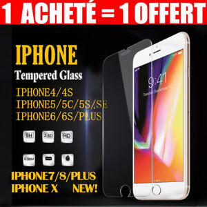 VITRE-PROTECTION-ECRAN-VERRE-TREMPE-INCASSABLE-iPhone-6-6S-7-8-PLUS-X-XR-5S-SE-4