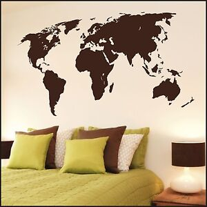 Large world map wall sticker wall decal mural home office wall art image is loading large world map wall sticker wall decal mural gumiabroncs Image collections