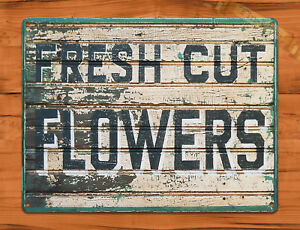 TIN-SIGN-034-Fresh-Cut-Flowers-034-Rustic-Kitchen-Wall-Decor