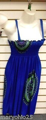 L3X NEW Blue Pink Multicolor Beach Cover up Summer Sleeve Sun DRESS S M L XL