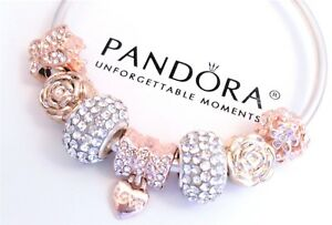 Authentic-Pandora-Silver-Bangle-Bracelet-With-Love-Rose-Gold-European-Charms