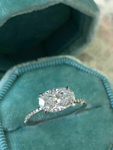 2Ct Oval Cut Alexandrite Diamond Solitaire Engagement Ring 14K White Gold Finish