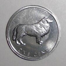 2003 Cook Islands 1 cent, Lassie, Collie, dog animal wildlife coin