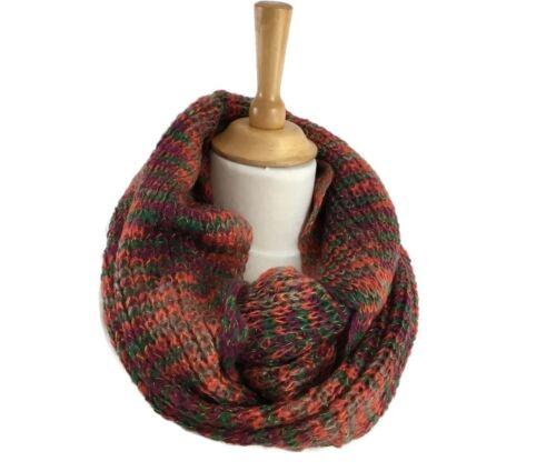 Ladies Knitted Infinity Snood Scarf Burnt Orange Green Soft Warm Neck Warmer