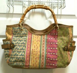 Relic-Fabric-Handbag-Bamboo-Handles-Canvas-Purse-Bag-Tote