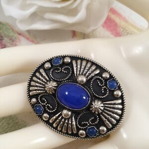Vintage-Antique-Jewellery-Italian-Silver-Brooch-Jewelry-Pin-with-Blue-Stones