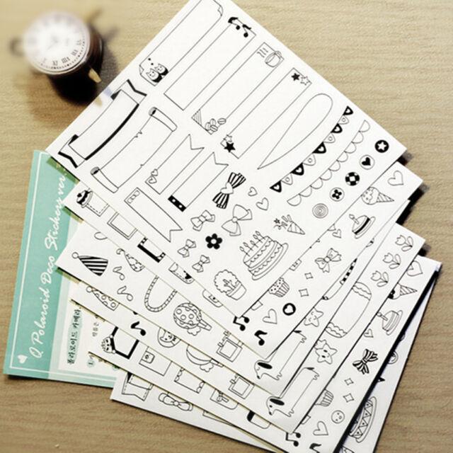 Hot 6 sheet Notebook album calendar memo message diary notes deco paper sticker
