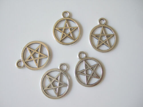 20 x Tibetan Silver Pentagram Pentacle Wiccan Pagan Charms Pendants Beads 20mm